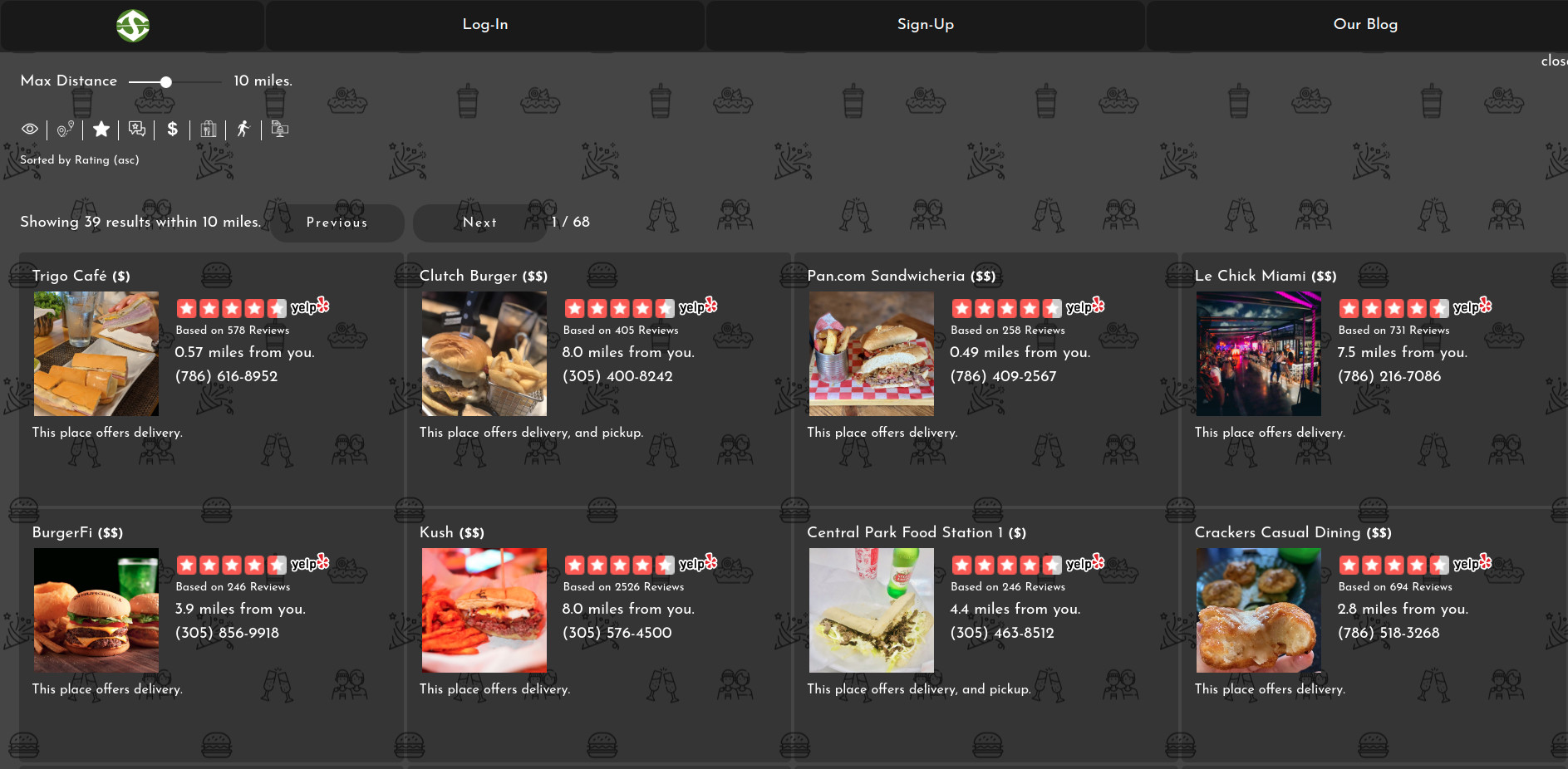 Picture of SpotBie user interface with a list display of places where to eat in South Florida.