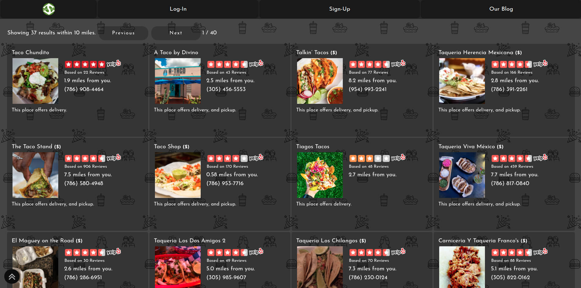Image of SpotBie UI listing the best places to eat tacos near the user.