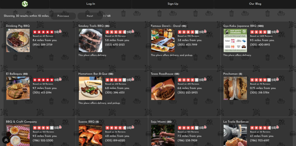 Image of SpotBie UI showing the best places to eat BBQ