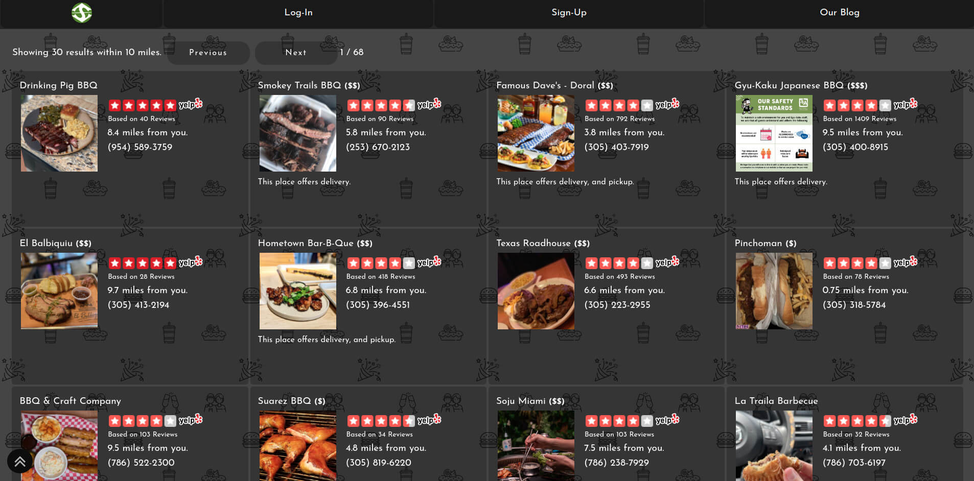 Image of SpotBie UI showing the best places to eat Pizza