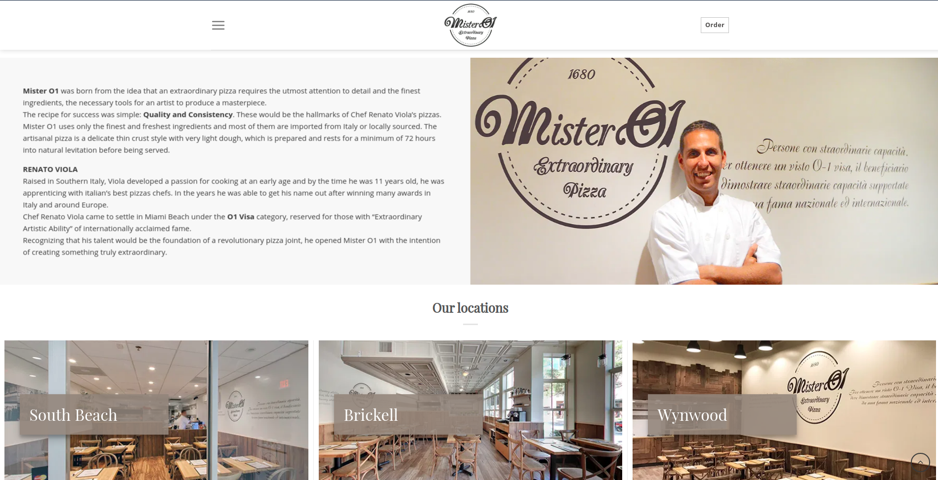 Image of MisterO1's website showing you a great place to eat Pizza in Miami