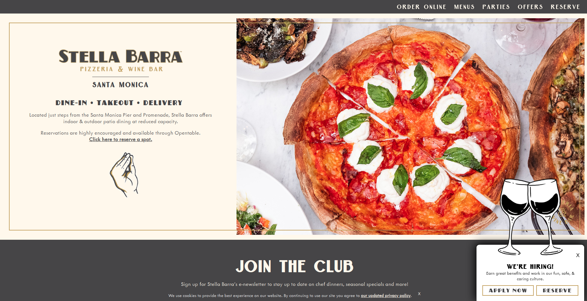 Image of Stella Barra's website showing you a great place to eat Pizza in Santa Monica
